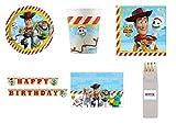 Party Store web by casa dolce casa Toy Story 4 Coordinato ADDOBBI TAVOLA Festa Woody E Buzz Lightyear - Kit n°31 CDC-(8 Piatti,8 Bicchieri,20 TOVAGLIOLI,1 TOVAGLIA,1 Ghirlanda + Omaggio)