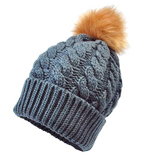 f4d90ab4fd0fc gotd invierno cálido gorro de punto para bebé infantil Kid Hairball ...