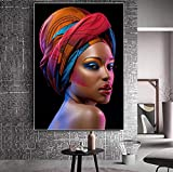 Henypt Quadri e Quadri Sexy Nero Nudo Donna Africana Labbra Rosse Tela Pittura Poster Foto Arte della Parete per Soggiorno Senza Cornice, 60 * 80