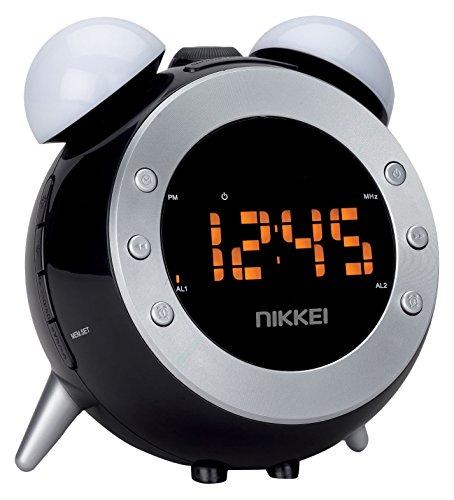 Nikkei NR280P - Radiowecker mit Projektion, Radioclock, Kinderwecker, Digitales Weckerradio mit Radio FM und Licht, Wake-up Light Funktion, Zwei Weckzeiten, Schlummerfunktion, Schwarz