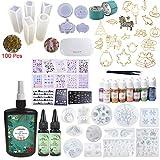 310ML Resina epossidica (250 + 2 * 30), 17 stampi in silicone con 100 anelli,15 pigmenti, fogli decorativi, 17 metalli aperti con nastro adesivo, mini pinzette per lampade per creazione di gioielli