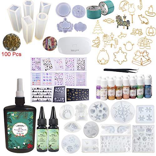 310ML(250 + 2 * 30) Resina epóxica 17 moldes de silicona con 100 anillos para 15 pigmentos nacarados, hoja de decoración, 17 metal abierto con cinta, mini pinza de lámpara para Craft Art
