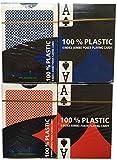 Mühlan 4 x 100% Plastikkarten, Pokerkarten, Poker, Großer Index, 4 Symbole + Cutcard