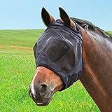 Harrison Howard Fliegenmaske UV-Schutz Fleece Gepolstert Ohne Ohren Ohne Nase Schwarz