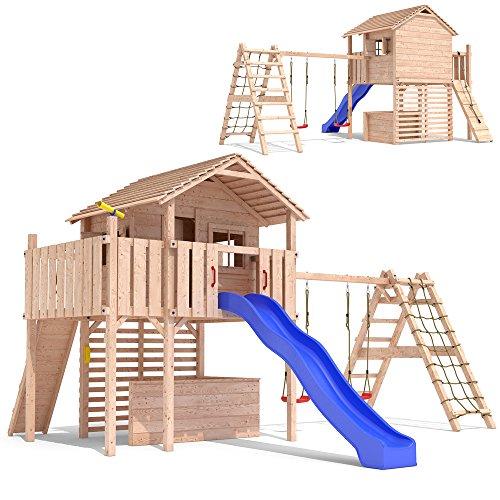 MAXIMO Spielturm Baumhaus Stelzenhaus Schaukel Kletterturm Rutsche Holz (erweiterter Schaukelanbau)