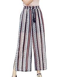 Primavera Verano Elegantes Moda Mujer Pantalones De Tiempo Libre Estampadas  Flor Abiertas Niñas Ropa Elastische Taille e583681aa8a8