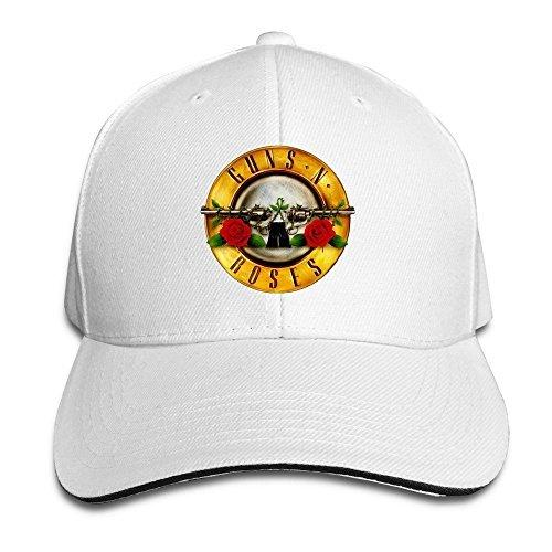 hittings TopSeller Unisex Guns N Roses Logo Adjustable Peaked Béisbol Caps Hats White