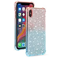 """EnjoyCase Crystal Glitter Case for iPhone Xr 6.1"""",Gradient Soft Ultra Thin 2 in 1 Shiny Paillette Sparkle Bling Shockproof Protective TPU Bumper Silicone Back Cases Cover"""