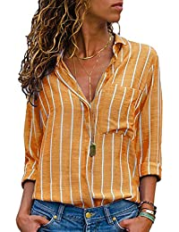 c67ff92cb344 Aleumdr Womens V Neck Stripe Long Sleeve Loose Fit Button up Color Block Blouses  Tops