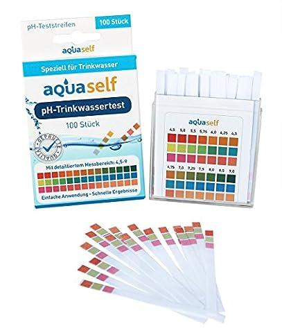 PH Teststreifen (100 Stück) für Trinkwasser mit detailliertem Messbereich von 4,5 – 9; einfach, schnell und präzise; Original pH Wert Testreifen von Aquaself