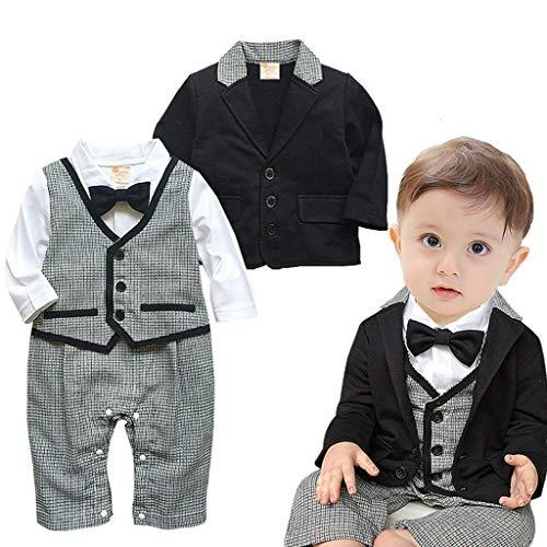 Yazidan Säuglings Babys scherzt Kinder Kleidungs Mantel Weste Spielanzug der Ausstattungs Overall mit Langen Ärmeln Baumwolle Kleidung- Top + Hose + Weste + Fliege + Jacke