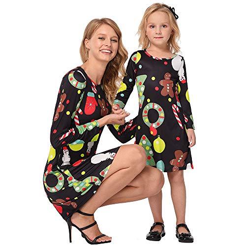 Riou Weihnachten Baby Kleidung Set Kinder Pullover Pyjama Outfits Set Familie Weihnachten Mama Kinder Mädchen Cartoon Print Prinzessin Kleid Partykleid (130, Mädchen B)