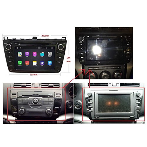 (Schwarz) 8 Zoll 2 Din Android 7.1 OS Autoradio für Mazda 6 2008 2009 2010 2011 2012, kapazitiver Touchscreen mit Quad Core 1.6G Cortex A9 CPU 16G Flash und 2G DDR3 RAM GPS Navi Radio DVD Player 3G/WIFI Aux Input OBD2 USB DVR (Mazda 3 2010-auto-radio)