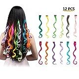 FESHFEN Postiches Extensions de Cheveux Bouclés Mèches Colorés avec Clips Accessoires de Cheveux DIY Décoration de Cosplay - Ensemble de 12 Couleurs