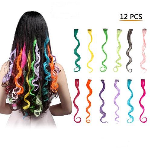 Feshfen, extension ondulate con clip, capelli remy colorati per feste, accessori per decorazione capelli fai da te, 12 pezzi, 12 colori