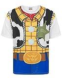 Toy Story Disney - Camiseta Disfraz de Woody Personaje niños (13-14 Años/Blanco)