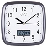 JVD DH615.2 Wanduhr Quarz analog weiß anthrazit mit Datum und Wochentag