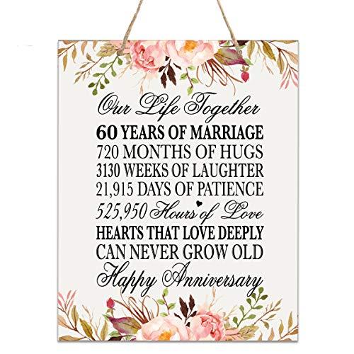 LifeSong Gedenktafel zum 60. Jahrestag der Hochzeit, 60 Jahre Hochzeit, als Andenken für Eltern, Ehemann, Ehefrau, Ihn - Our Life Together 12x15 Floral Rope Sign (Gedenktafel An Der Hochzeit)
