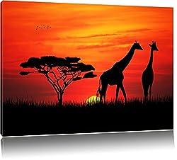 Dark Afrika Giraffen im Sonnenuntergang Bild auf Leinwand, XXL riesige Bilder fertig gerahmt mit Keilrahmen, Kunstdruck auf Wandbild mit Rahmen, guenstiger als Gemaelde oder Bild, kein Poster oder Plakat, Format:60x40 cm