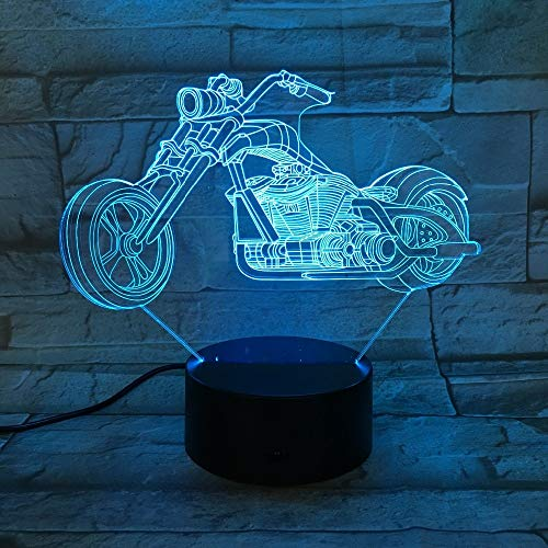 Tianyifengg 3D-LED-7 Farbe-Fernbedienung-Nachtlicht-Motorradbeleuchtung Kindergeburtstagsbeleuchtung