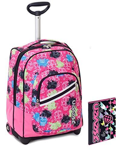 Trolley bambina seven + cartellina a4 - nero rosa - spallacci a scomparsa! zaino 35 lt scuola e viaggio - idea regalo natale