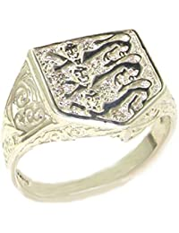 Solid Sterling Silver England Footbal Team 3 Lions Shield Ring
