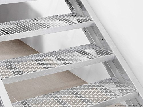 Profigold Exterior Staircase Hollywood WPC or Grill Grating 80cm wide for Geschoß Height 72–330cm with 414Steps