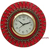 JaipurCrafts Designer Kundan Studded And Meenakari Stylish Beautiful Wooden Round Emboss Painting Wall Clock| Clock For Home | Wall Clock For Kitchen | Rajasthani Wall Clock| Vibrant Colors Clock