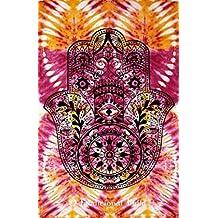 100% algodón teñido anudado de Fátima Mano de Hamsa de la tapicería, India Psychedelic Tapices, colgantes de pared hippie, bohemio Doble colcha, manta de picnic Playa arte de la decoración 54x86 ''