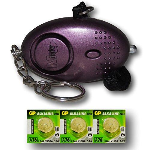 Mini Minder Key Ring Persönliche Schlüsselalarm Angriff Rape Alarm 140dB mit Fackel (Lila) + Ersatz Batterie-Set