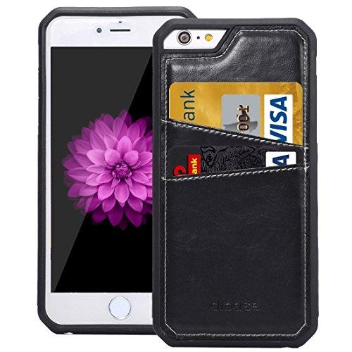 Wkae Case Cover Für iPhone 6 &6s Crazy Horse Textur TPU-Schutzhülle mit Karten-Slot ( Color : Black ) Black