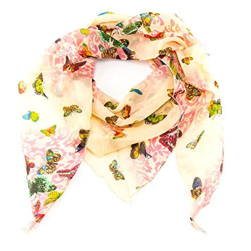 ManuMar Dreiecks-Schal für Damen | feines Hals-Tuch mit Schmetterling-Motiv als perfektes Sommer-Accessoire | Dreiecks-Tuch in gelb rot - Das ideale Geschenk für Frauen