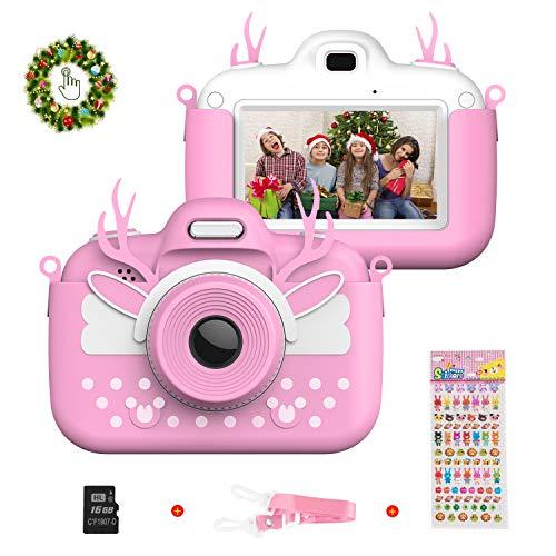 Vannico Appareil Photo Enfants HD 8 MP Caméra Enfants Portable Double Lentille avec Carte 16GB TF, avec Fonction Selfie, Écran Tactile LCD 3,0 Pouces, 3-10 Ans Fille Garçon Cadeau De Noël (Rose)