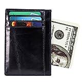 Leder Kreditkartenetui mit RFID Schutz, Kartenhalter, Kartenetui, Mini Geldbörse, Schlanke Brieftasche mit ID-Fenster, Geschenkbox (Schwarz)