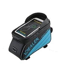 Vdealen Bolso de Bicicleta para Ciclista Ciclismo con Bolsa Transparente y Táctil para Poner Adelante o sobre el Tubo de Bici a Prueba de Agua por bolsilla de PVC para Teléfonos Móviles, Tablet, iPod, MP3, GPS inferior de 4.7inches / 5.5 inches (Negro & Azul, L/ 5.7inches)