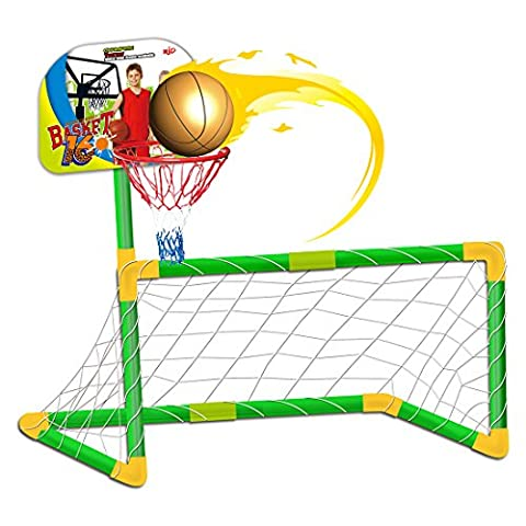 deAO Sports Playset 2 in 1 Basketball and Football Children's SET - Soccer Goal, Basket and Balls