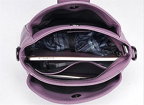 Xinmaoyuan Borse donna vera pelle femmina croce obliqua Package Litchi Pattern bloccare la benna borsa a tracolla,rosso Viola