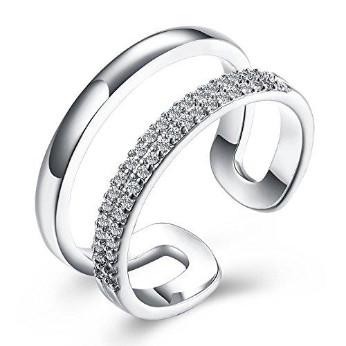 Aienid Damen Ring Versilbert Jubiläumsringe für Frauen Doppel Kreis Hochzeit Band Breite:0.9CM Größe:60 (19.1) (Doppel-osmanischen)