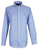 Ralph Lauren Herren Baumwoll-Hemde, Langarm-Hemde, Verschiedene Farben (Blau, L)