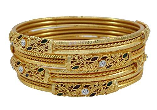 Banithani placcato oro tradizionale designer etnica braccialetto kada braccialetti gioielli 2* 4, fede, colore: or (conception#1), cod. bsg2951b