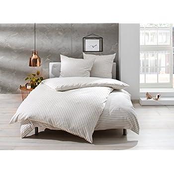Mako Satin Bettwäsche Beige Weiß Gestreift 155x220 + 80x80 Cm, 100%  Baumwolle Mit Reißverschluss Awesome Ideas