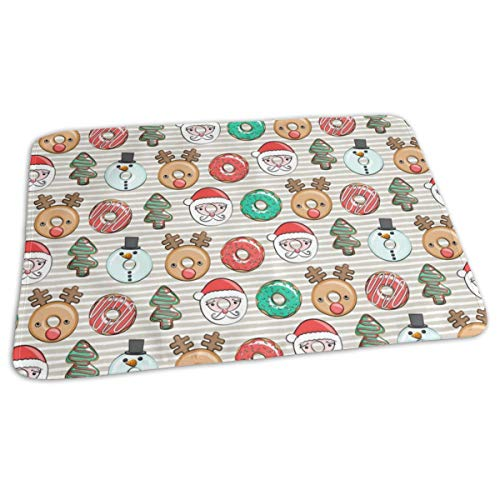 Baby Reusable Diaper Changing Pad - Christmas Donuts Santa, Christmas Tree, Reindeer Beige Stripes CBS_777 Portable Waterproof Urine Mat ((27.5 x 19.7 Inch), 70 x 50 cm)