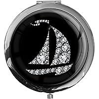 """metALUm - Extragroße Pillendose in runder Form""""Segelboot in Silber"""" preisvergleich bei billige-tabletten.eu"""