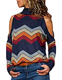 2fd04081987dd YOINS Women Cold Shoulder Turtle Neck Tops Long Sleeve Geometric Stripe  Casual Loose Blouse Tee Pullover