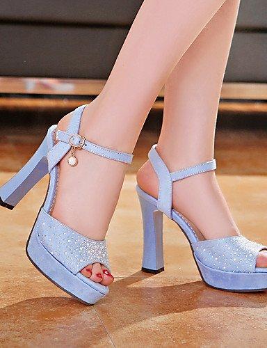 UWSZZ IL Sandali eleganti comfort Scarpe Donna-Sandali / Scarpe col tacco-Tempo libero / Formale / Casual-Tacchi / Spuntate / Plateau-Quadrato-Finta pelle-Blu / Verde / Pink