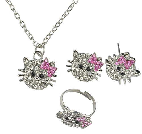Sorella'z Crystal Rhinestone Hello Kitty Ring, Earrings and Necklace Set