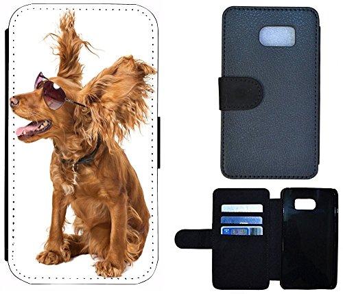 Case Etui Flip Cover Schutz Hülle Handy Tasche für (Apple iPhone 4 / 4s, 1080 Wolf Wölfe Lila Blau) 1082 Hund Dog Crazy Braun