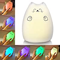 ALFALED LED Night Light, Baby Light Silicone Soft Portable Warm White RGB Multicolour Tap Control USB Rechargeable Cute Kitty Nursery Lamp For Children Babies Friends Kids