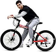 COOLBABY Mountain Bike 26 inch Folding Bikes with Iron mountain frame, Featuring 40-knife rim and 21 Speed Shi