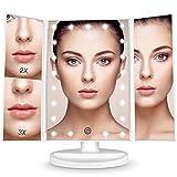 BESTOPE Kosmetikspiegel Touchscreen mit 21 LED-Leuchtmittel BeLeuchtete Make Up Spiegel 2X/3X Vergrößerung für Arbeits/Tischplatte Bewegliche Kabellose Stromversorgung durch Akku oder USB-Aufladung